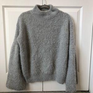 Lush Gray Turtleneck Blouson Sleeve Sweater